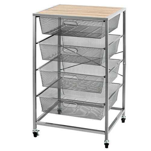 4 Drawer Mesh Shelves Basket Utility Heavy Duty Storage Organizer-Natural