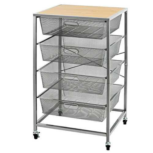 4 Drawer Mesh Shelves Basket Utility Heavy Duty Storage Organizer