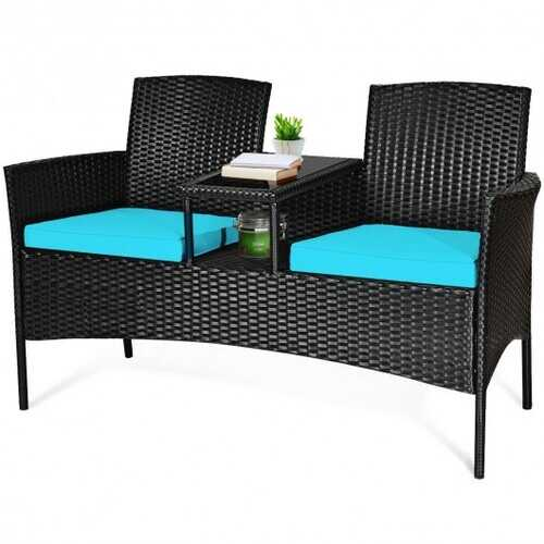 Patio Rattan Conversation Set Seat Sofa-Turquoise