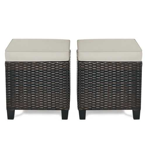 2 Pcs Patio Rattan Ottoman Cushioned Seat Foot Rest