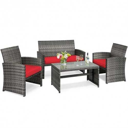 4PCS Patio Rattan Furniture Set-Red - Color: Red