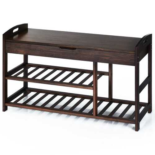 3-Tier Bamboo Shoe Bench Entryway Storage Rack-Black