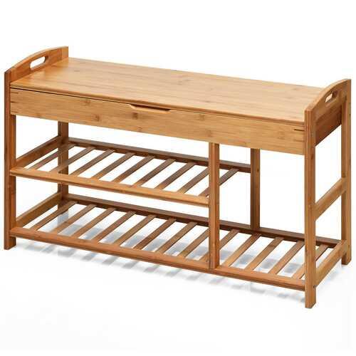 3-Tier Bamboo Shoe Bench Entryway Storage Rack-Beige