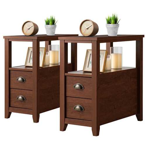 Set of 2 End Table Wooden with 2 Drawer & Shelf Bedside Table