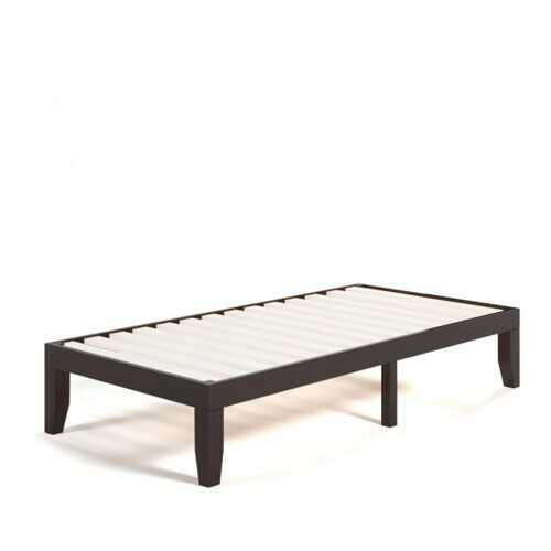 "Twin Size 14"" Wooden Slats Bed Mattress Frame-Brown"