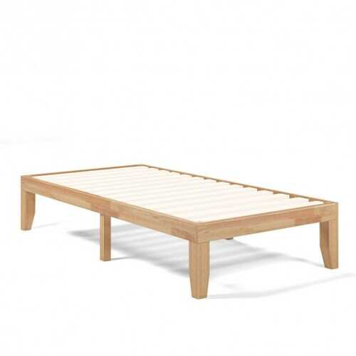 "Twin Size 14"" Wooden Slats Bed Mattress Frame-Natural"