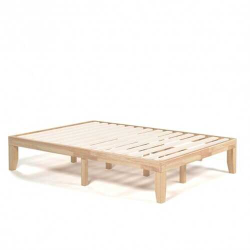"14"" Full Size Wood Platform Bed Frame with Wood Slat Support-Natural"