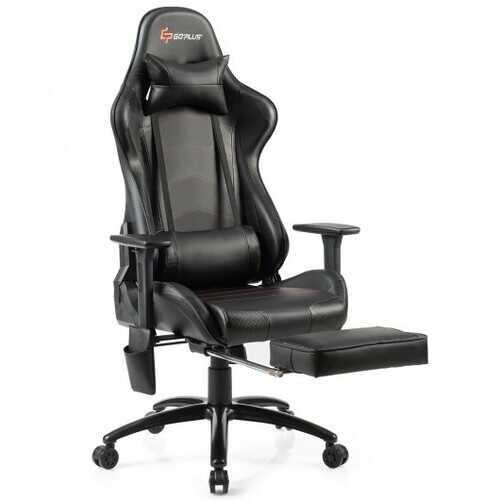 Ergonomic High Back PU Leather Massage Gaming Chair-Black - Color: Black