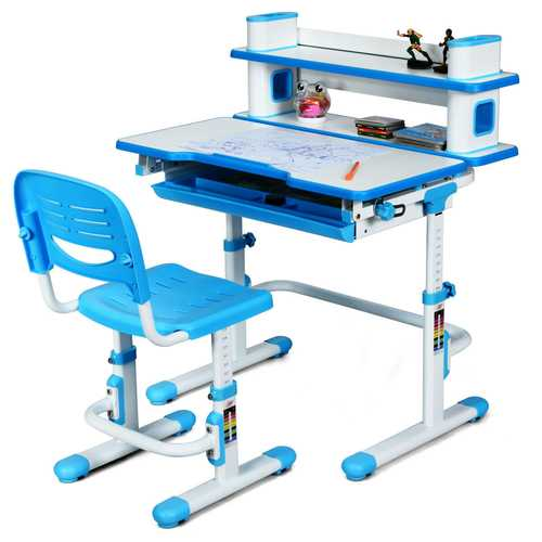 Adjustable Kids Desk and Chair Set with Bookshelf and Tilted Desktop