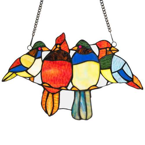 "14.5"" Tiffany Glass Birds Window Panel Hangings with Chain"