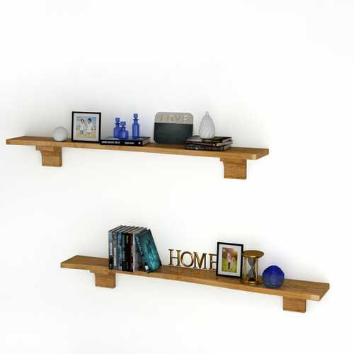 "60.5"" Wall Shelf Wood Floating Shelf Wall Mounted Storage Rack"