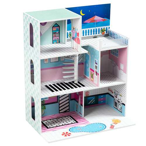 3 Level Kids Pretend Play Doll Cottage House