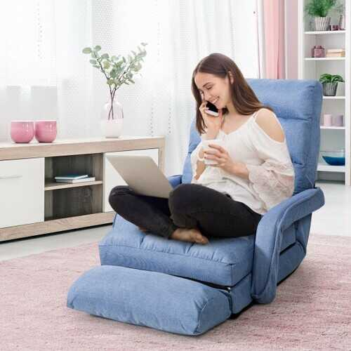 Folding Floor Massage Chair Lazy Sofa with Armrests Pillow-Blue