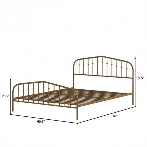 Queen Size Metal Bed Frame Steel Slat Platform-Brown