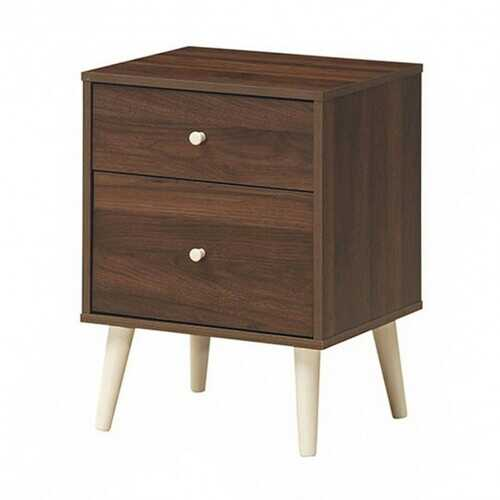 2-Drawer Nightstand Beside End Side Table with Rubber Legs-Walnut