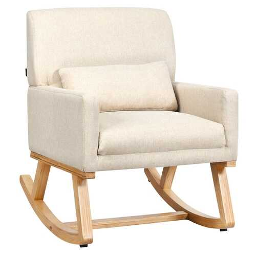 Rocking Chair Upholstered Armchair with Lumbar Support-Beige