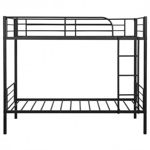 Metal Twin Kids Bunk Bed with Ladder Safety Guard Rails