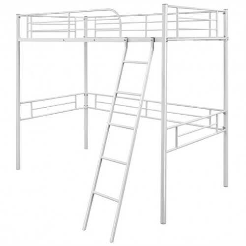 Metal Loft Twin Bed Frame Single High Loft Bed-White