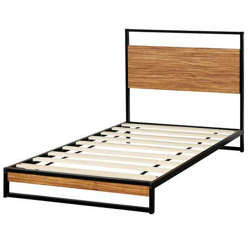 Twin Size Metal Frame Bed Platform Wooden Slat Support with Headboard