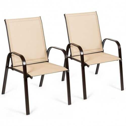 2 Pcs Patio Chairs Outdoor Dining Chair with Armrest-Beige - Color: Beige