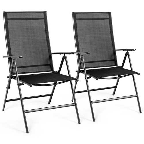 Set of 2 Adjustable Portable Patio Folding Dining Chair Recliner -Black