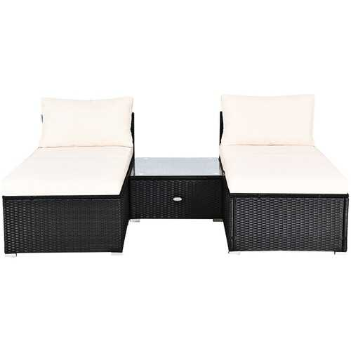 5 PCS Patio Rattan Wicker Furniture Set with Cushions