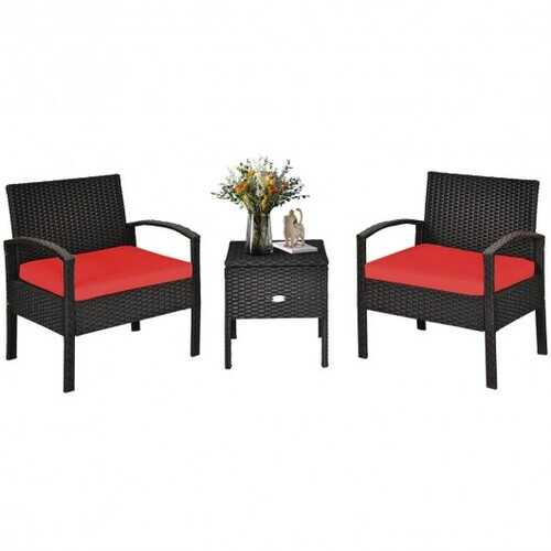 3 Piece PE Rattan Wicker Sofa Set with Washable and Removable Cushion for Patio-Red - Color: Red