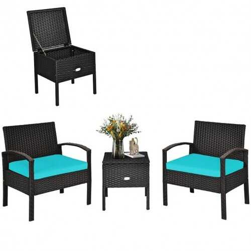 3 Piece PE Rattan Wicker Sofa Set with Washable and Removable Cushion for Patio-Turquoise - Color: Turquoise