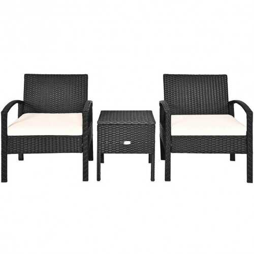 3 Piece PE Rattan Wicker Sofa Set with Washable and Removable Cushion for Patio - Color: White