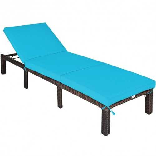 Outdoor Rattan Adjustable Cushioned Chaise-Turquoise - Color: Turquoise