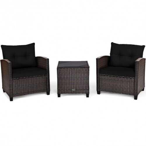 3 Pcs Patio Rattan Furniture Set Cushioned Conversation Set Coffee Table -Black - Color: Black