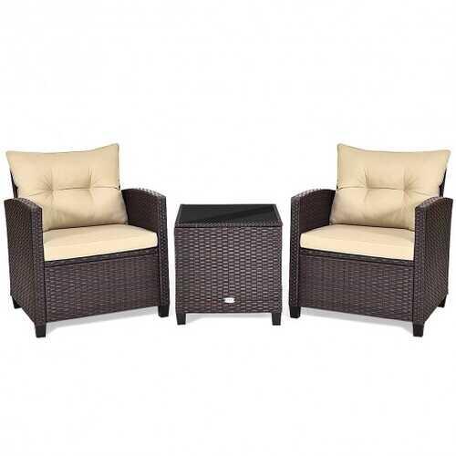 3 Pcs Patio Rattan Furniture Set Cushioned Conversation Set Coffee Table-Beige - Color: Beige