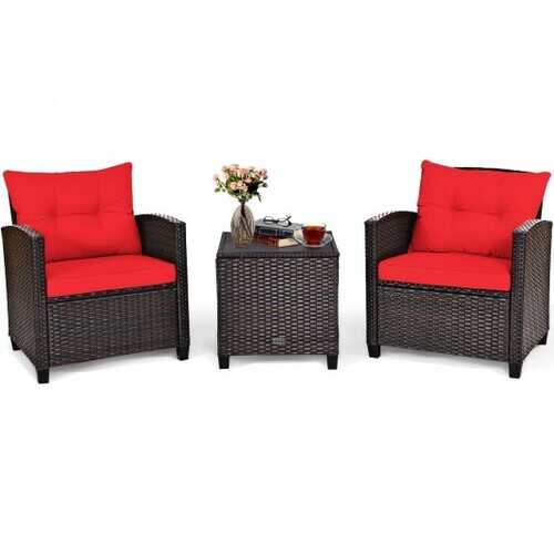 3 Pcs Patio Rattan Furniture Set Cushioned Conversation Set Coffee Table-Red - Color: Red
