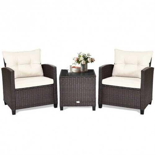 3 Pcs Patio Rattan Furniture Set Cushioned Conversation Set Coffee Table  - Color: White
