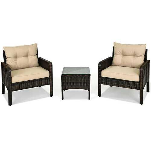 3 Pcs Outdoor Patio Rattan Conversation Set with Seat Cushions-Beige - Color: Beige