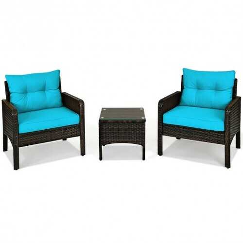 3 Pcs Outdoor Patio Rattan Conversation Set with Seat Cushions-Turquoise - Color: Turquoise