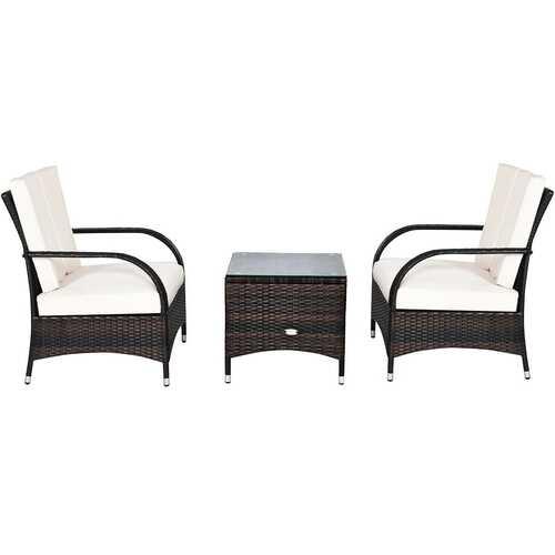 3PCS Rattan Coffee Table Set Chair-White