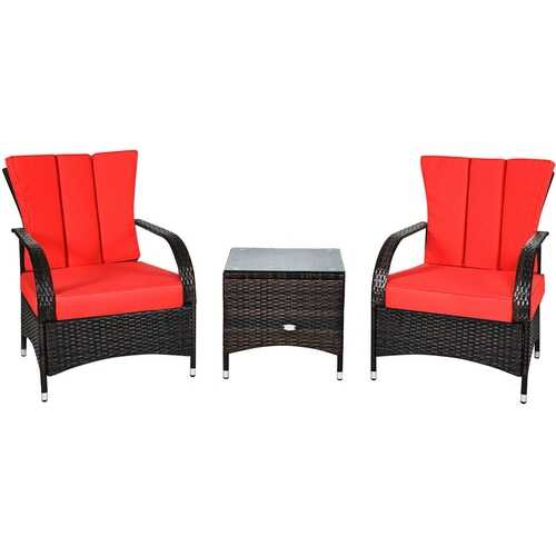 3PCS Rattan Coffee Table Set Chair-Red