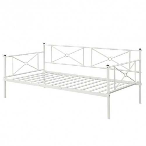Metal Daybed Twin Bed Frame Stable Steel Slats Sofa Bed-White