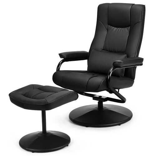 Recliner Chair Swivel Armchair Lounge-Black