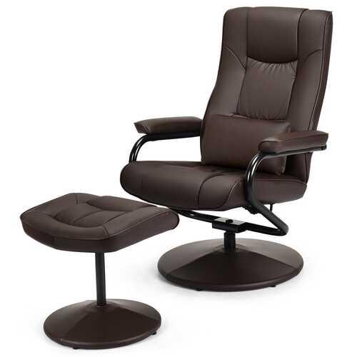 Recliner Chair Swivel Armchair Lounge-Brown