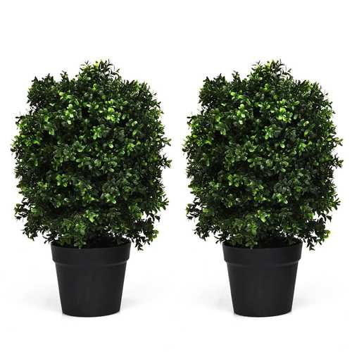 "2 pcs 24"" Artificial Decoration Boxwood Topiary Ball Tree"