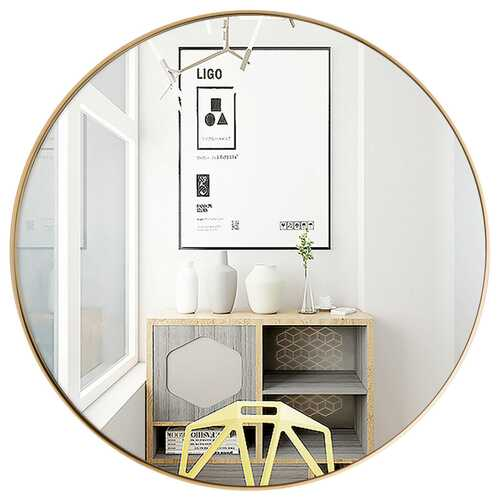 "27.5"" Modern Metal Wall-Mounted Round Mirror for Bathroom-Golden - Color: Golden"