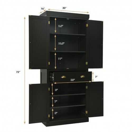 Cupboard Freestanding Kitchen Cabinet w/ Adjustable Shelves-Espresso - Color: Espresso