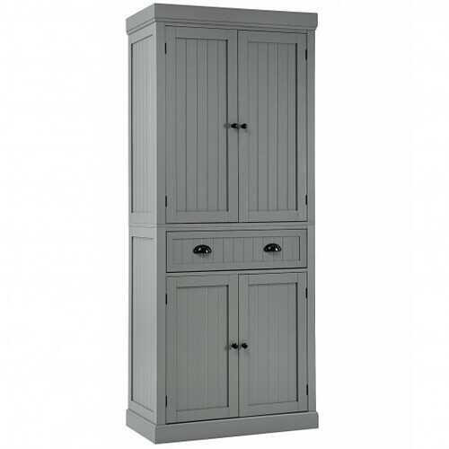 Cupboard Freestanding Kitchen Cabinet w/ Adjustable Shelves-Gray - Color: Gray
