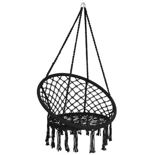 Hanging Macrame Hammock Chair with Handwoven Cotton Backrest-Black