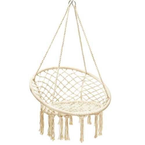 Hanging Macrame Hammock Chair with Handwoven Cotton Backrest-Natural