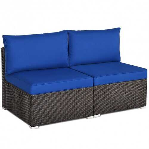2Pcs Patio Rattan Armless Sofa with Cushion-Navy