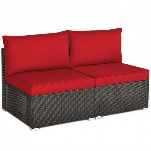 2 Pieces Patio Rattan Armless Sofa Set with 2 Cushions and 2 Pillows-Red - Color: Red