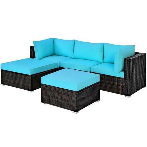 5 Pcs Patio Rattan Sectional Conversation Ottoman Furniture Set-Blue